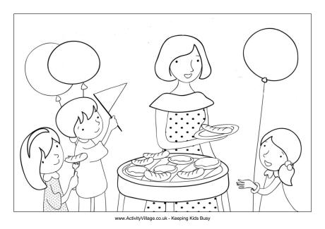 Summer Party Colouring Page
