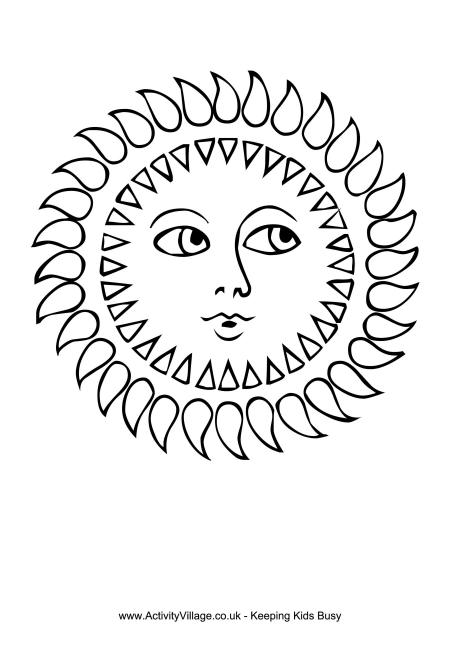 Sun Colouring Page 1