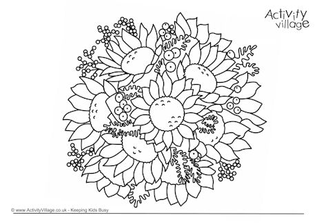 Sunflower Bouquet Colouring Page