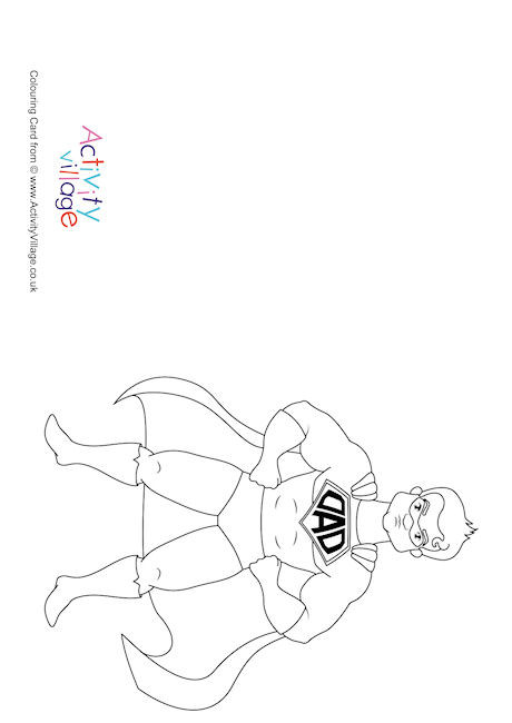 Superdad Colouring Card