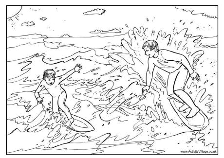 Surfing Colouring Pages