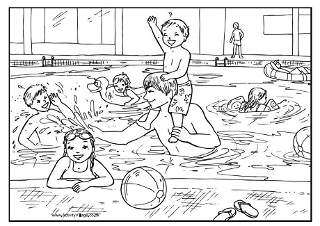 Swimming Pool Colouring Page
