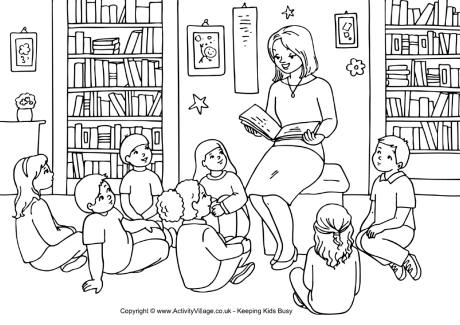 Teacher Story Time Colouring Page