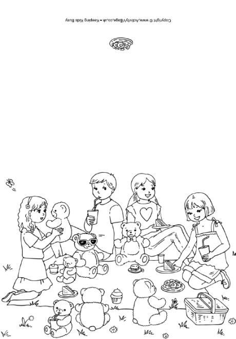 Teddy Bears' Picnic Colouring Card