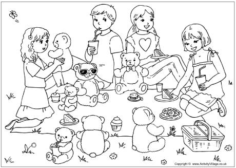 Teddy Bears' Picnic Colouring Page