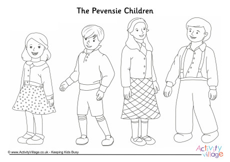 The Pevensie Children Colouring Page