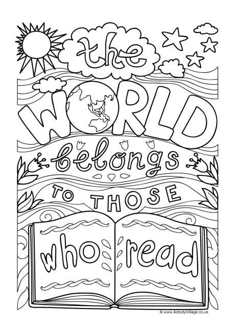 The World Belongs to Those Who Read Colouring Page