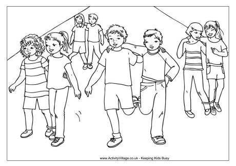 Three Legged Race Colouring Page
