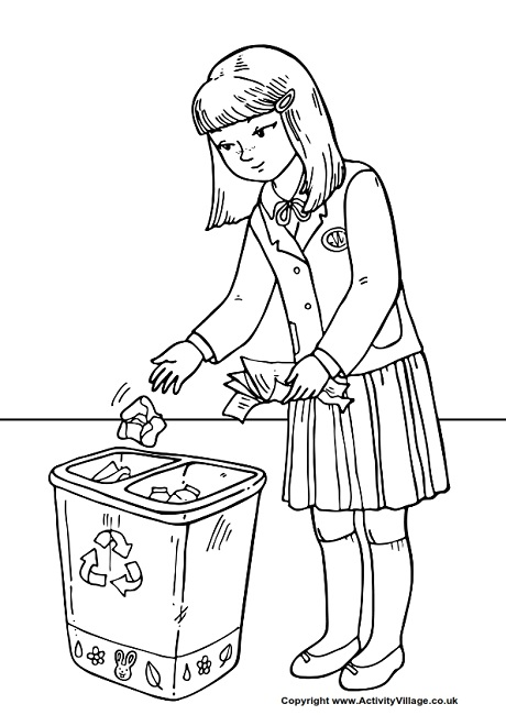 Throw Litter in the Bin Colouring Page