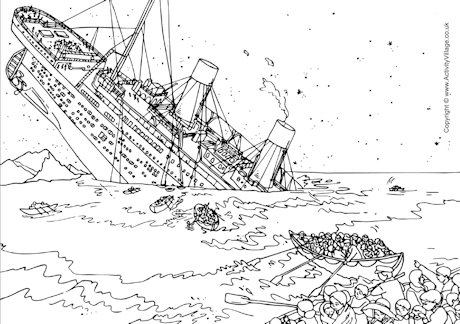 Titanic Sinking Colouring Page