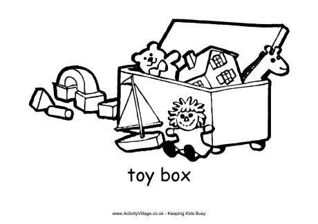 Toy Box Colouring Page