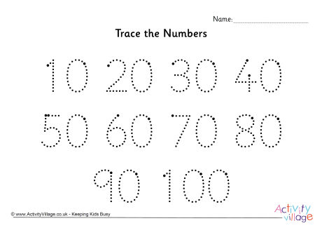 Trace the Numbers 10 to 100 Dotted