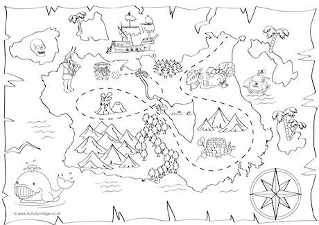 Treasure Map Colouring Page