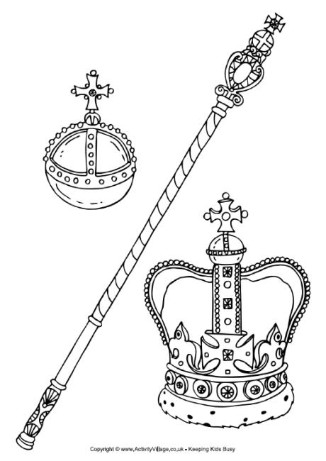 Royal Regalia or Crown Jewels Colouring Page
