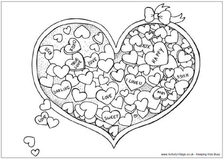 Valentine Candy Colouring Page