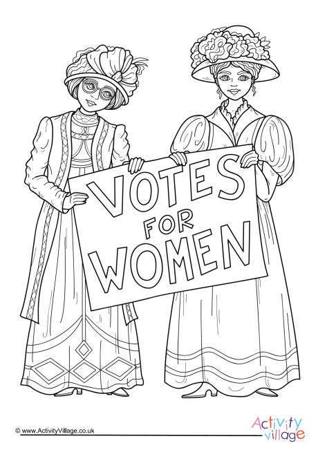 Votes for Women Colouring Page