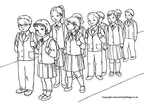 Wait In Line Colouring Page
