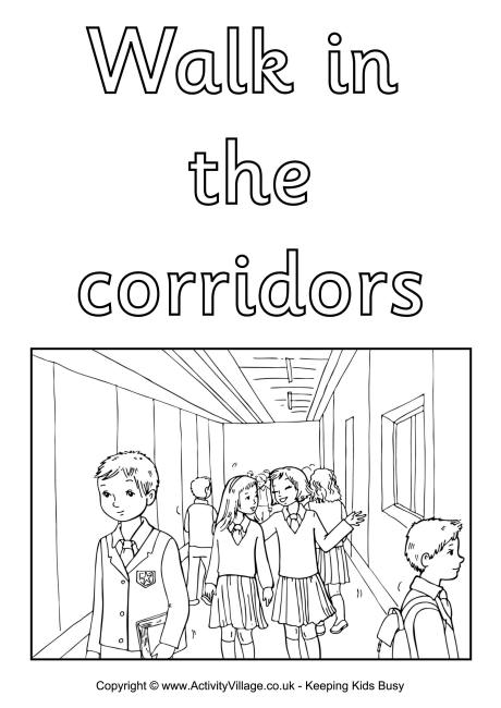 Walk in the Corridors Colouring Poster