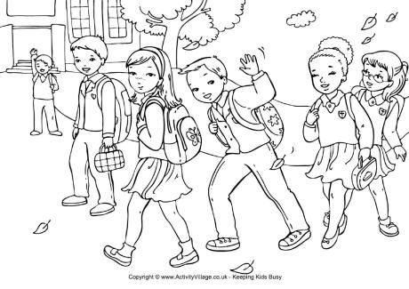 Walking to School Colouring Page