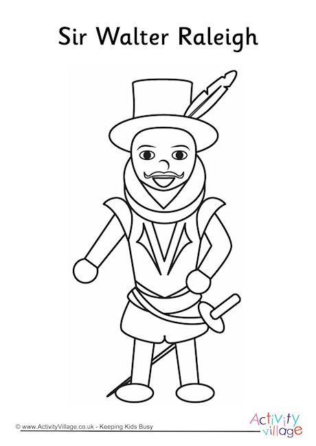 Walter Raleigh Colouring Page