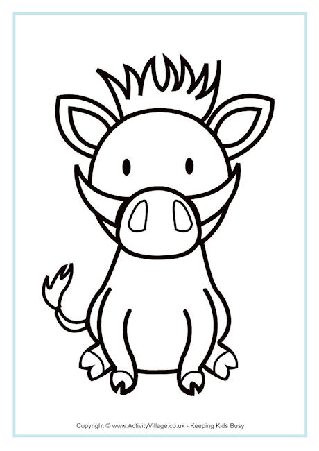 Warthog Colouring Page