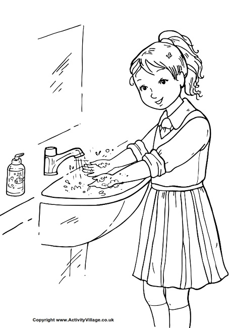 Wash Your Hands Colouring Page