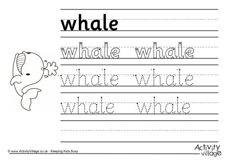 Whale Handwriting Worksheet
