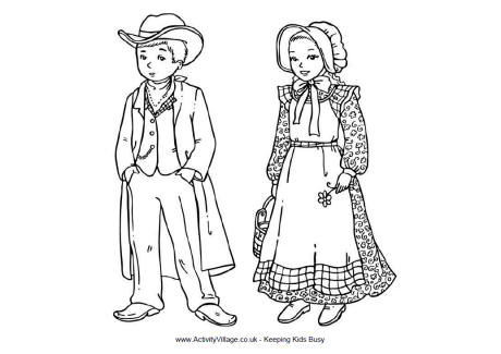 Wild West Children Colouring Page