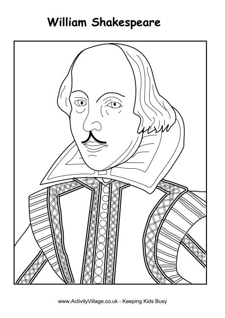 William Shakespeare Colouring Page