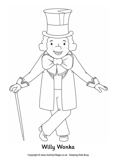 Willy Wonka Colouring Page