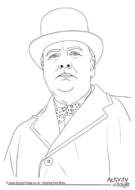 Winston Churchill Colouring Page 2
