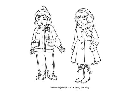 Winter Clothes Colouring Page
