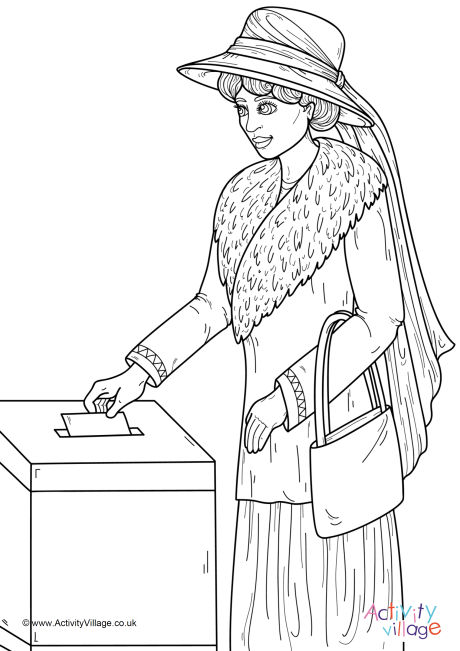 Woman Voting Colouring Page