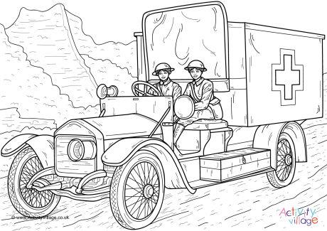 Women Ambulance Drivers WWI Colouring Page