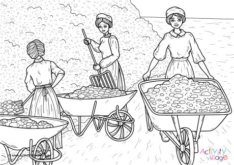Women Labourers WWI Colouring Page