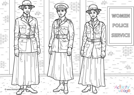 Women Police Service WWI Colouring Page