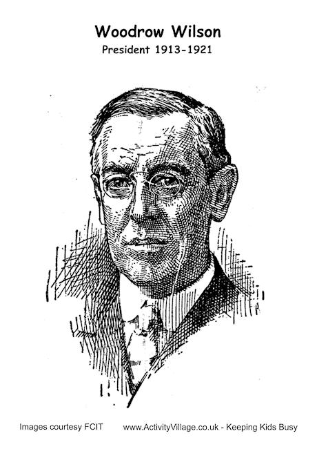 Woodrow Wilson Colouring Page 2