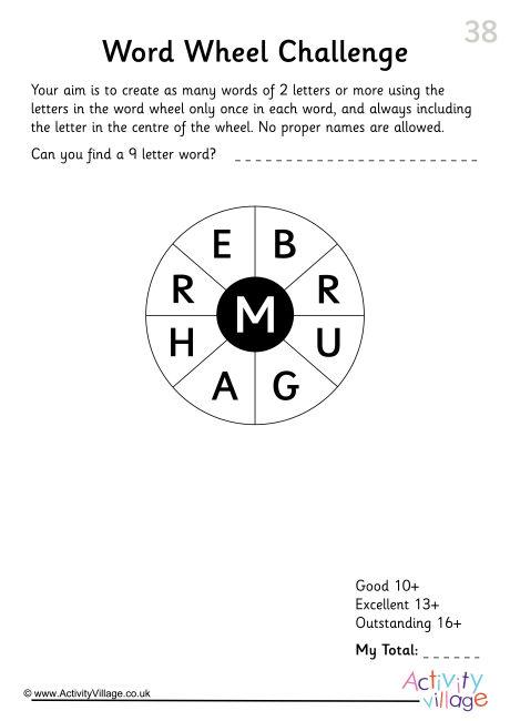 Word Wheel Challenge 38