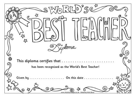 Worlds Best Teacher Diploma