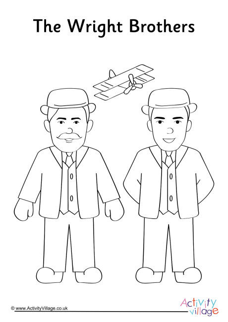 Wright Brothers Colouring Page
