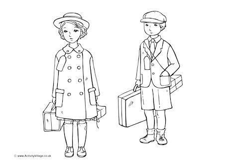 WW2 Evacuee Children Colouring Page