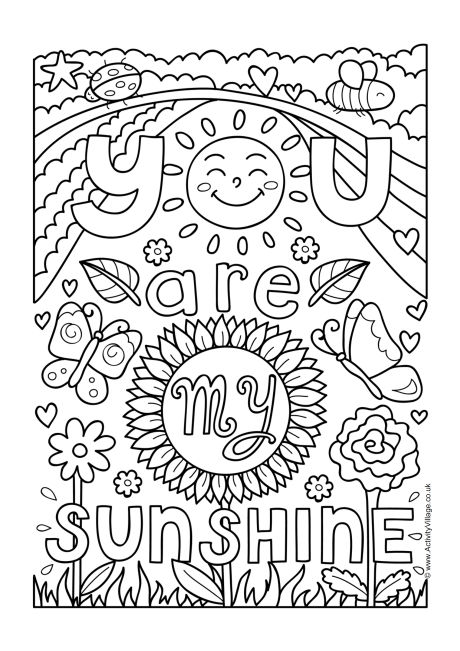 You Are My Sunshine Colouring Page