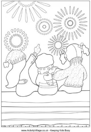 Bonfire Night Colouring Pages