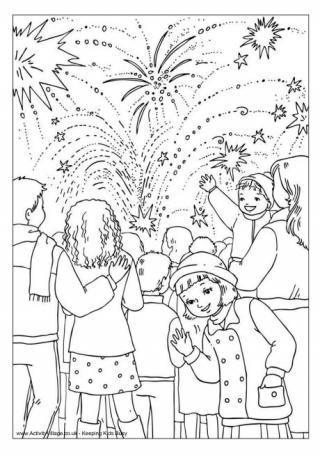 Fireworks Colouring Pages