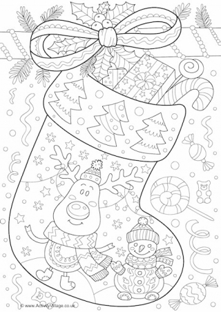 Coloring Page Of A Christmas Stocking Enpzct Happy2020newyear Info