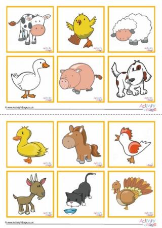 Farm Animal Bingo Game