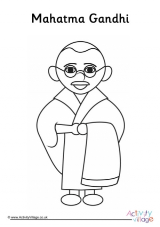Mahatma Gandhi Outline Coloring Pages