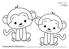 Little Monkeys Colouring Page