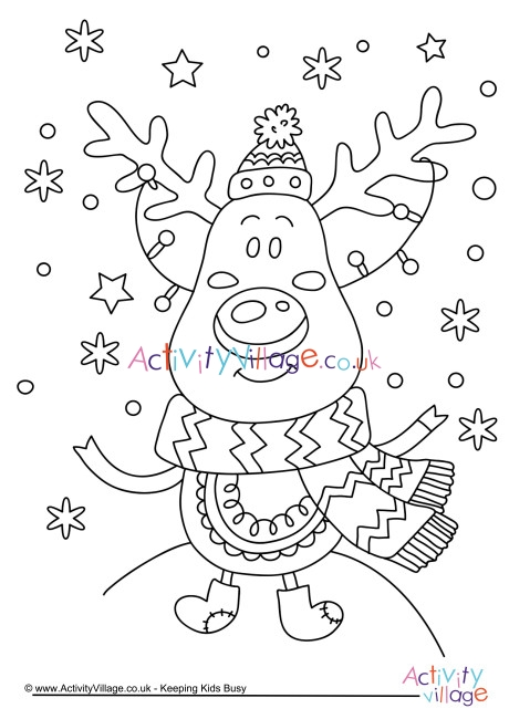 christmas reindeer colouring page