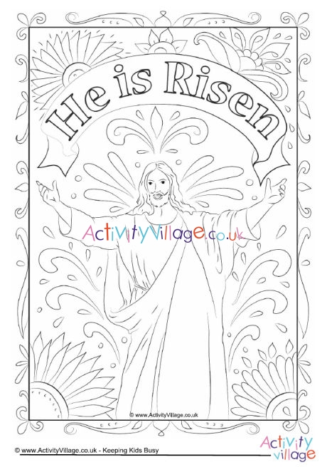 He Is Risen Colouring Page